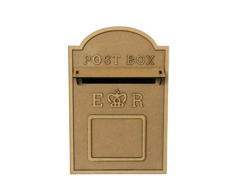 Wedding Post Box, Royal Mail Styled, Flat Pack, Unpainted MDF for Cards