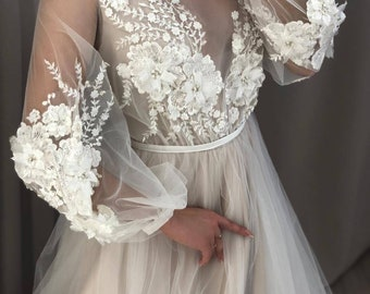 92b804193c9 Modern Boho Flower Tulle Lace Applique 2in1 Wedding dress 2018 2019. Custom  made boho plus Size Party Train. Real photo! A-line