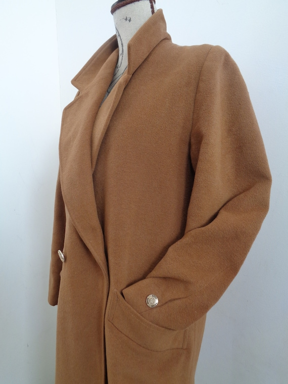 Vintage 40 Cognac Größe Mantel Warm Elegant Langen Wolle WxBoreQCd