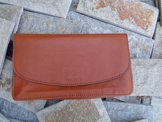 Vintage 1980s leather clutch, Brown evening bag, C