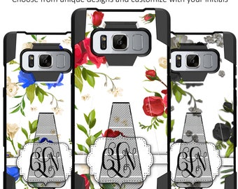 Samsung Galaxy S8 Active Kickstand Cases [Custom Initial Rose Design]