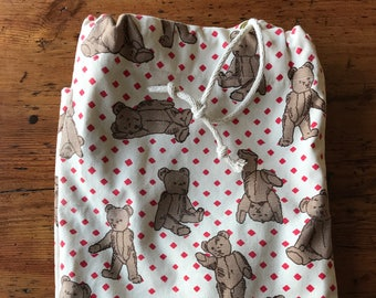 Laundry Bag Teddy Bear Tote Storage Red Polka Dots Vintage Handcrafted Marthas Vineyard Cotton