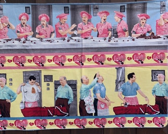 Chocolate Factory BTY I Love Lucy Quilting Treasures Hat Candy Box Stripe