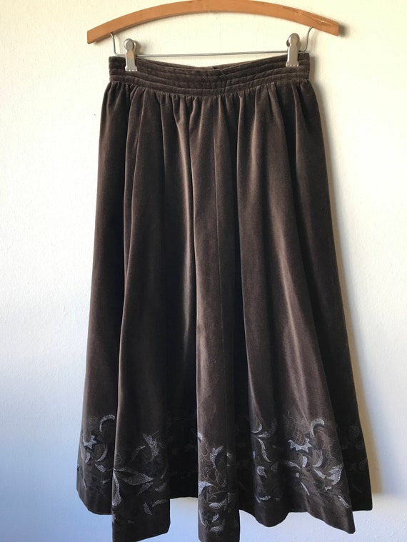 70s Brown Velveteen Holiday Midi Skirt by PRUE ACT