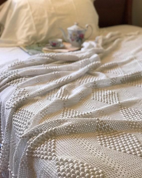 Jahrgang häkeln Tagesdecke Bettdecke oder werfen von Hand