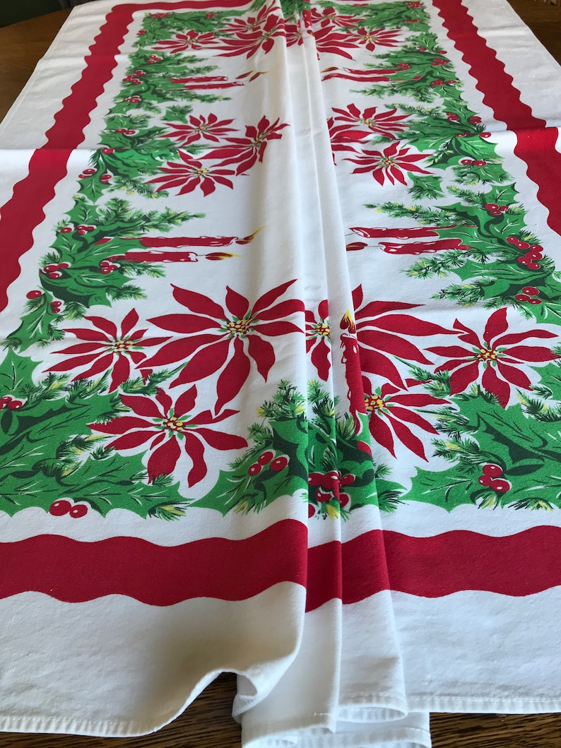 50 S Christmas Tablecloth Red Candles W Green Holly Etsy