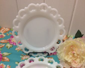 Vintage Milk Glass, Set of 2,  Anchor Hocking, Milk Glass Salad Plate, White, Lace Edge