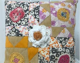 Vintage Quilt Pillow, Embellished Patchwork Pillow, Vintage Patchwork Pillow, Farmhouse Pillow, Home Decor, Decorative Pillow
