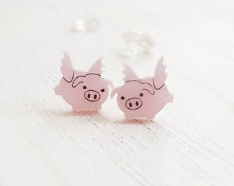 ee3e829f1 Flying pig stud earrings, pig earrings, cute kawaii kitsch acrylic  jewellery, teen gift idea