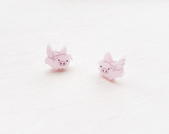 c3a3849c2 Flying pig earrings | pig earrings | pig Jewelry | Flying pig jewellery |  flying pig stud earrings | kitsch earrings | acrylic jewellery