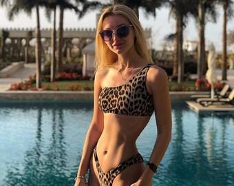 a675e5de0f cheeky leopard print swimsuit / high waisted brazilian bottom / one  shoulder bikini top / high leg bathing suit / women swimwear wholesale