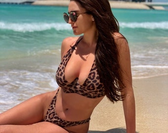 63c7d098f2bf8 sexy leopard print swimsuit / high waisted brazilian cheeky bottoms /  padded underwire bikini top / tie neck bathing suit / wholesale bikini