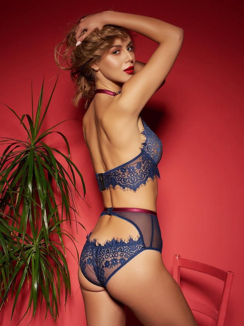 11e1824a35245 High waist lingerie set   halter bra high rise brief panties