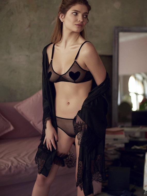 Sheer mesh lingerie set   transparent underwear   women s  94a627c45
