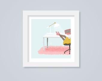 Work From Home, Mini Art Print