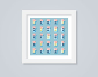 Pink & Blue City Window Scene, Mini Art Print