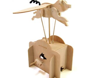 Flying Pig Wooden Automata Kit