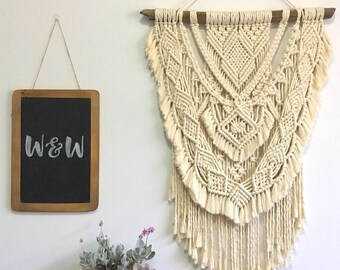 Macrame Wall Hanging | Joni | Large, off-white, boho, layered, fringed
