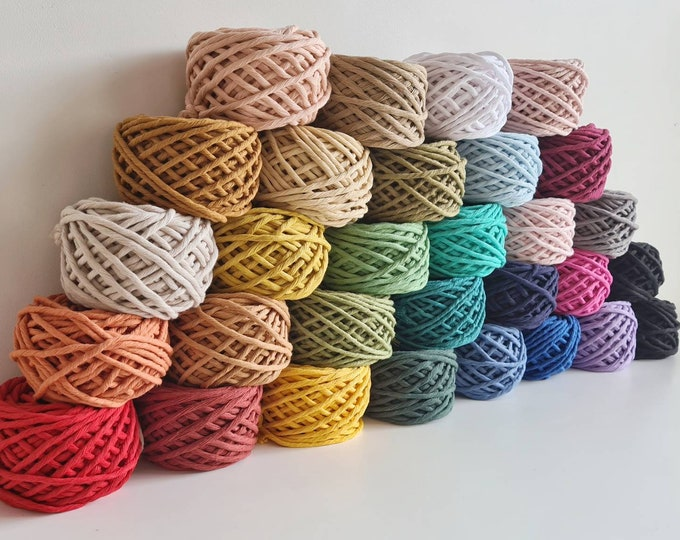 Featured listing image: 100g and 200g Macrame Cotton Cakes || 4mm coloured single twist cord