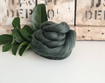 50g of Extra Fine Merino Wool Tops/Wool Roving || Fir || From DHG Shop Italy