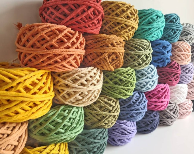 Featured listing image: 100g and 200g Macrame Cotton Cakes    4mm coloured single twist cord