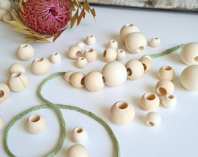 Featured listing image: Raw, unfinished, wooden beads || 15mm, 20mm, 25mm, 30mm || Large hole