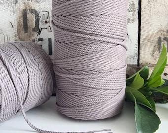Ash Grey Macrame Rope || 4mm  || 4 Ply rope
