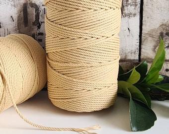 Lemonade Macrame Rope || 4mm  || 4 Ply rope
