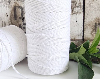 White Macrame Rope || 4mm  || 4 Ply rope