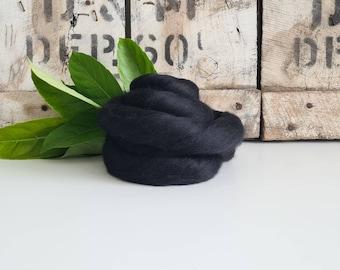 50g of Extra Fine Merino Wool Tops/Wool Roving || Dark || DHG Italy