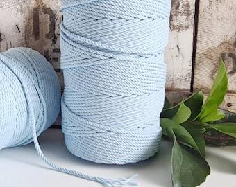 Sky Blue Macrame Rope || 4mm  || 4 Ply rope
