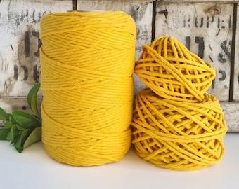 Dandelion Yellow Macrame Cord - Single Twist    4mm