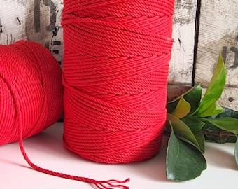 Poppy Macrame Rope || 4mm  || 4 Ply rope