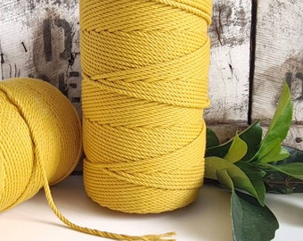 Dijon Macrame Rope || 4mm  || 4 Ply rope