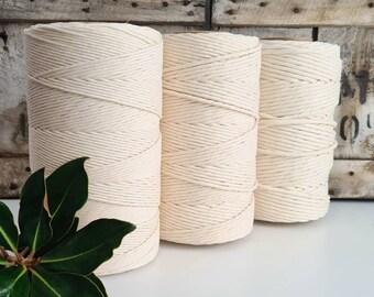 Organic Macrame Cotton Cord || Single Twist || 3mm-5mm