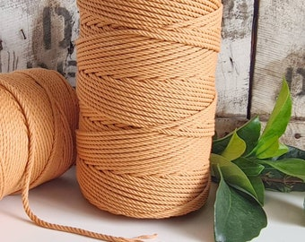 Burnt Orange Macrame Rope || 4mm || 4 Ply rope