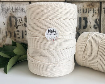 3mm Macrame Rope    Natural    4 Ply rope