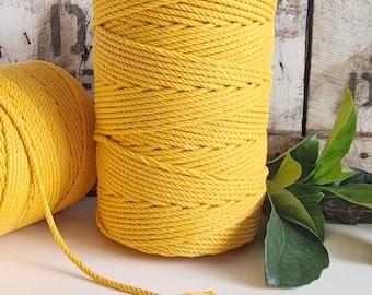 Dandelion Yellow Macrame Rope || 4mm  || 4 Ply rope
