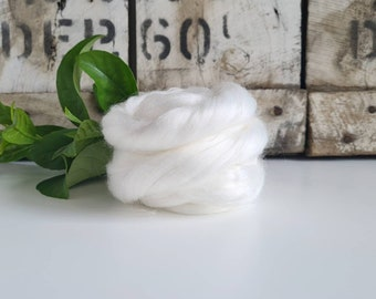 50g of Rose Fibre Tops /Roving || Natural White || DHG Italy