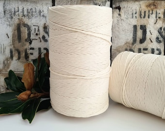 Organic Macrame Cotton Cord || Single Twist || 3mm