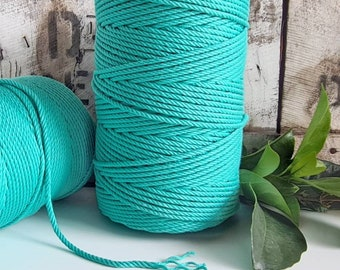 Turquoise Macrame Rope || 4mm  || 4 Ply rope