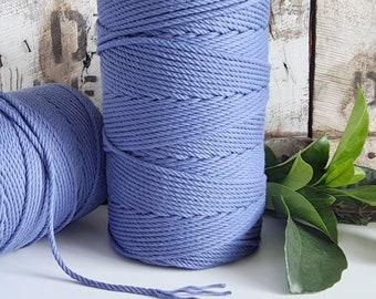 Cornflower Blue Macrame Rope || 4mm  || 4 Ply rope