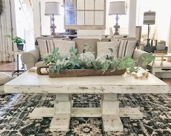 Farmhouse Coffee Table, Reclaimed Wood Coffee Table, Square Coffee Table, Country French Decor, Wood Furniture, Wood Table - FREE Ship