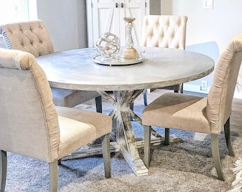 Round Zinc Dining Table, Industrial Dining Table, Zinc Table Top, Kitchen Table, Industrial Furniture, Farmhouse Table, Round Dining Table