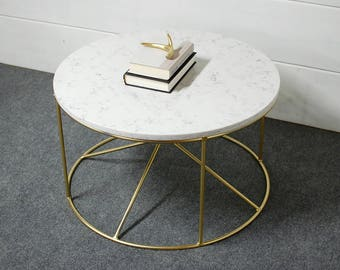 Round White Marble Coffee Table, Round Coffee Table, Industrial Furniture,  Living Room Furniture, Marble Table, Steel, Modern Table