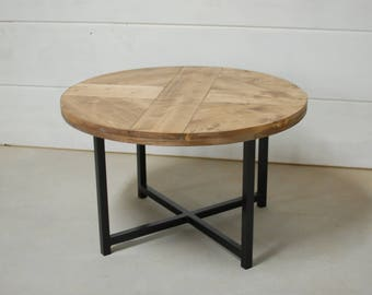 Round Industrial Coffee Table, Round Coffee Table, Reclaimed Wood Furniture,  Industrial Furniture, Reclaimed Wood Table, Round Table