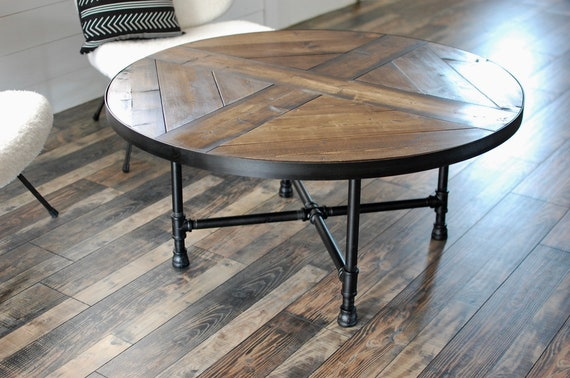 Pleasing Round Wood Coffee Table With Industrial Pipe Legs Wood Coffee Table Reclaimed Wood Coffee Table Industrial Table Round Table Black Pipe Machost Co Dining Chair Design Ideas Machostcouk