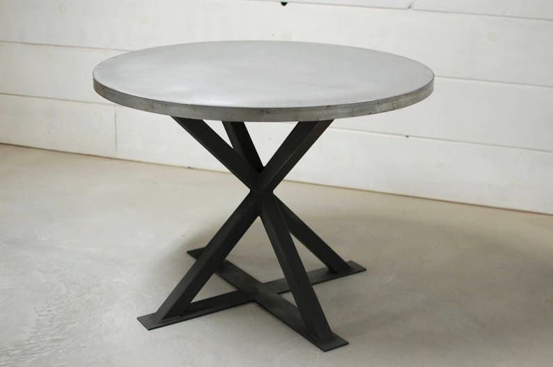 round zinc dining table industrial dining table zinc table