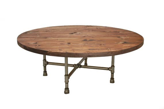 Superb Round Coffee Table Industrial Pipe Legs Wood Coffee Table Wood Furniture Round Table Reclaimed Wood Rustic Table Round Pipe Table Lamtechconsult Wood Chair Design Ideas Lamtechconsultcom