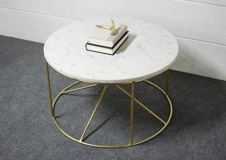 Round White Marble Coffee Table Round Coffee Table Etsy